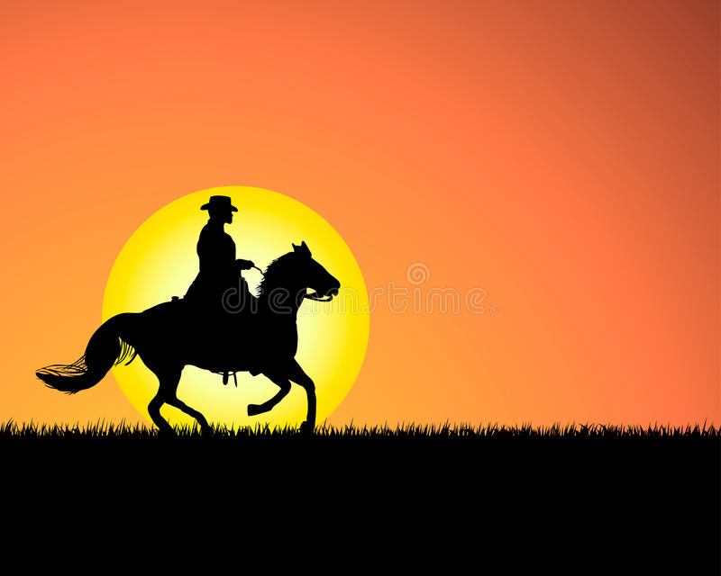 Download Horse on sunset background stock vector. Image of dawn - 10468991