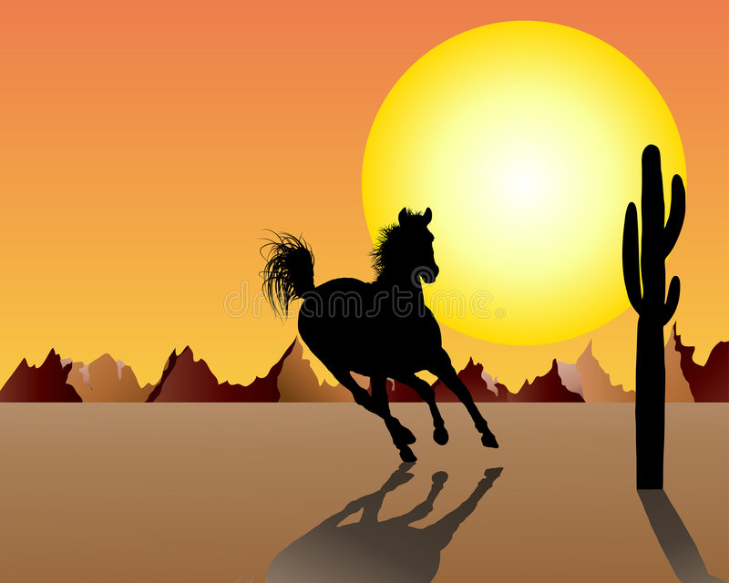 Download Horse on sunset background stock vector. Image of cactus - 8757142