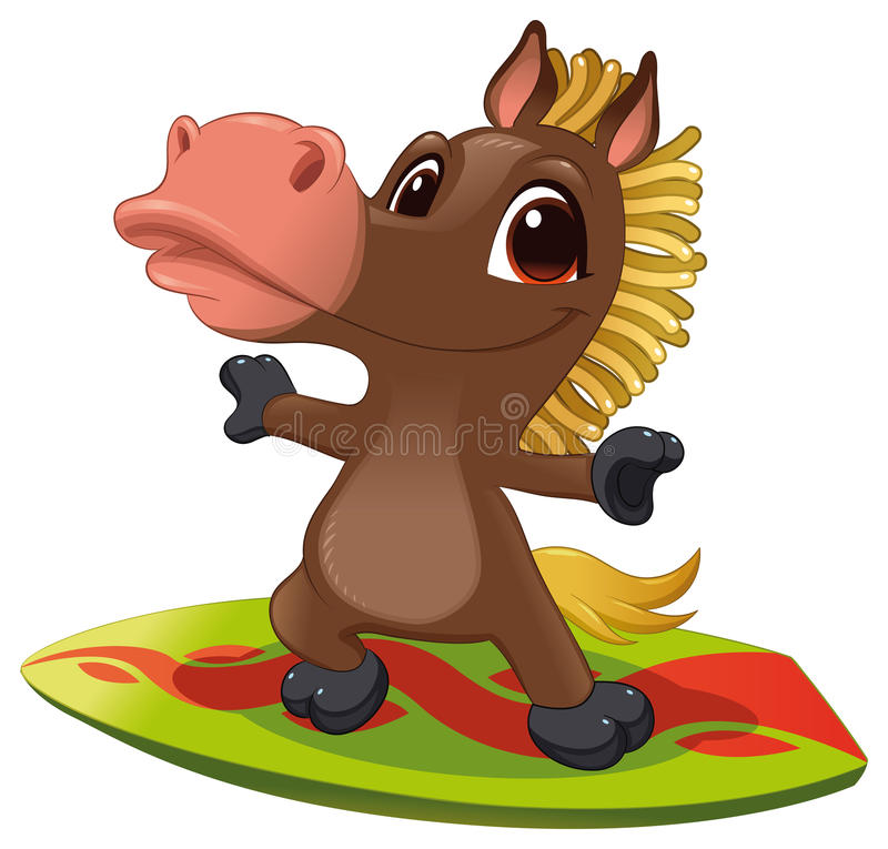 Horse with surf. Funny cartoon and vector sporty isolated character royalty free illustration