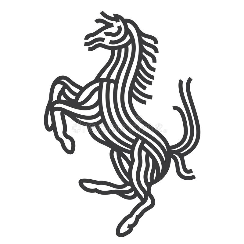 Horse symbol art style. Line vector illustrate. Symbolic of powerful horse. renew in stripe line to modern style stock illustration