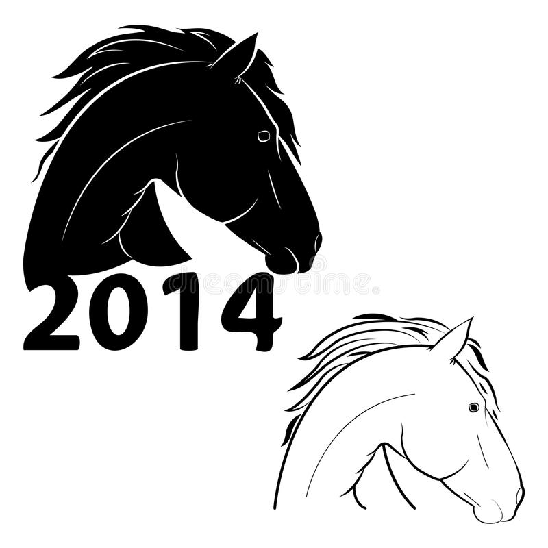 Horse symbol of the new year stock photos