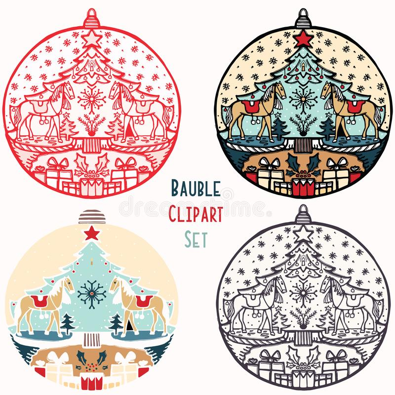Rocking horse toy Christmas bauble ornament set. Isolated festive design element. Hand draw winter holiday clip art icon. Festive stock illustration