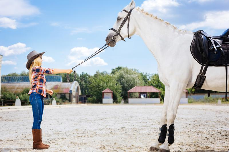 Beautiful blonde-haired schoolgirl coming to race track and horse. Horse on track. Beautiful blonde-haired schoolgirl coming to race track and beautiful white stock images