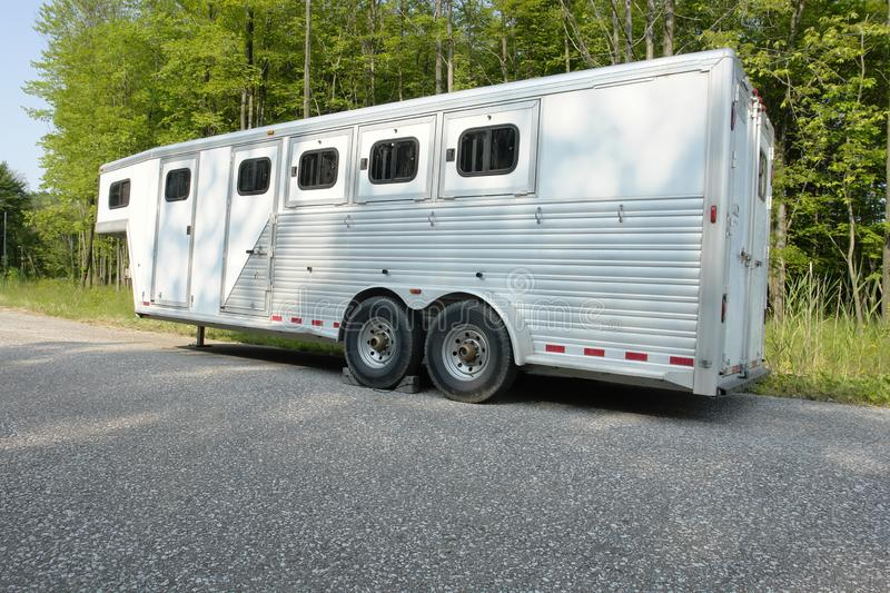 Horse trailer parked. Large horse trailer parked before loading horses stock photo