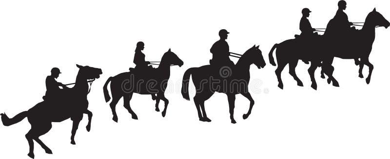 Horse Trekking Riders stock illustration