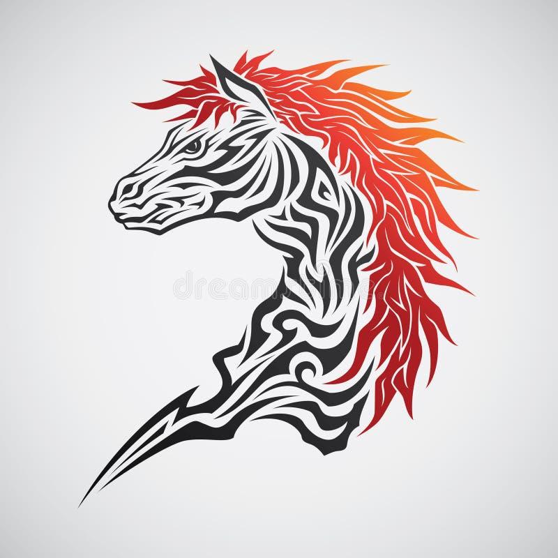 Horse Tribal Tattoo royalty free illustration