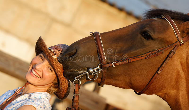 Horse try to eat a hat. Brown horse try to eat womans hat stock photo