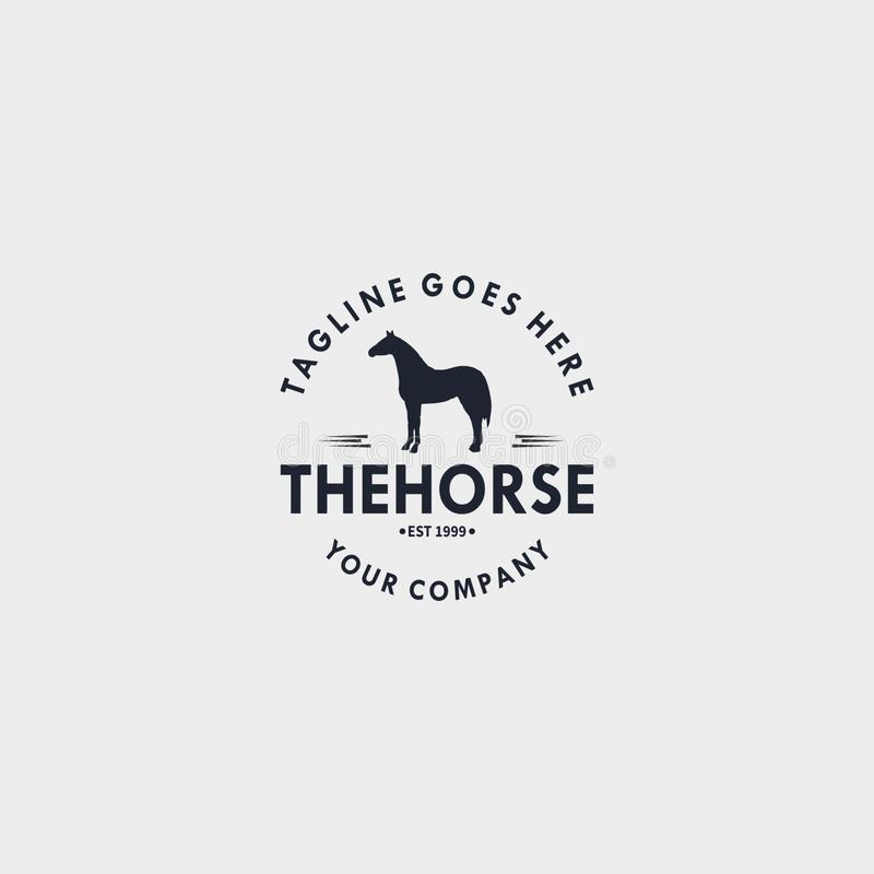 Horse vintage logo design template. Design elements for logo, label, emblem, sign. Vector illustration - Vector. Horse vintage logo design. Design elements for royalty free illustration