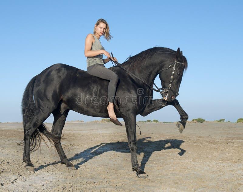 Horse woman on the beach royalty free stock photos
