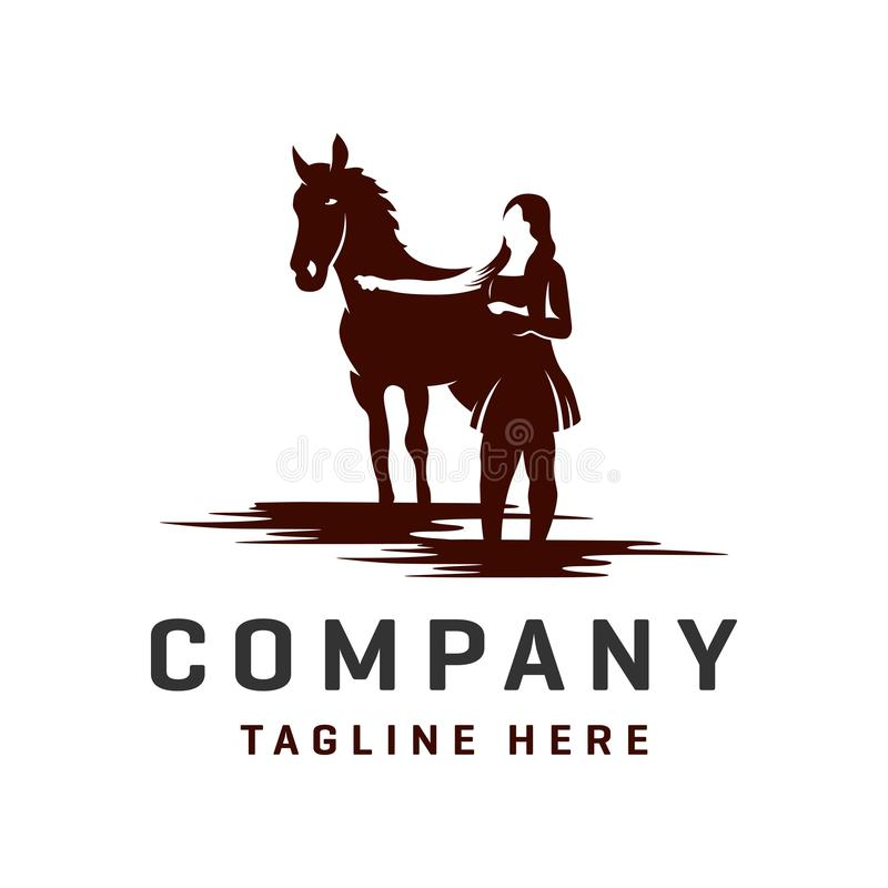Horse and woman logos template. Horse and woman logos your company stock illustration