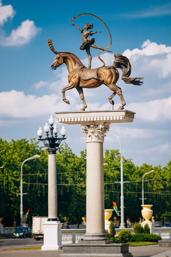 Horse woman sculpture near Building of the. Belarusian State Circus on Independence Avenue in Minsk, Belarus stock image