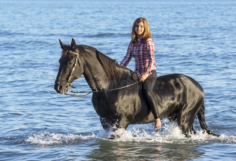 Horse woman in the sea royalty free stock photos
