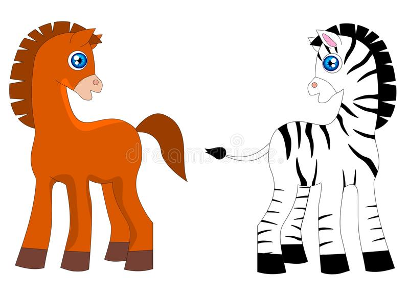 Download A horse and zebra stock vector. Illustration of painting - 18487957