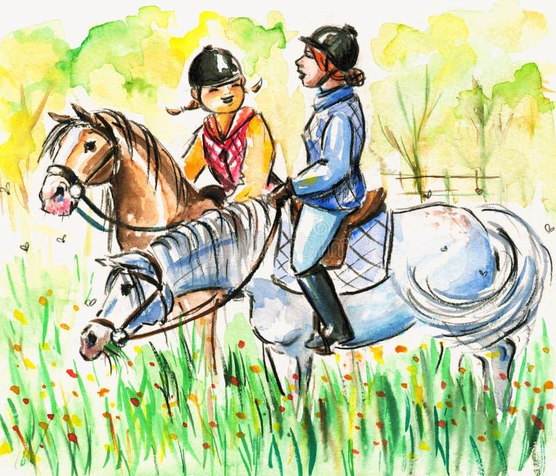 horseback езда иллюстрация вектора
