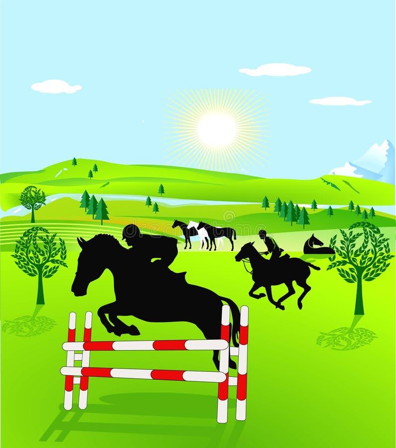 horseback скача riding иллюстрация штока