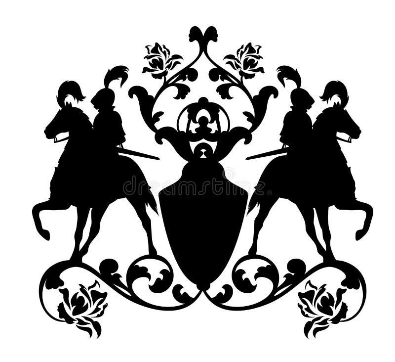 Horseback het silhouetontwerp van het ridder zwart vectorwapenschild vector illustratie