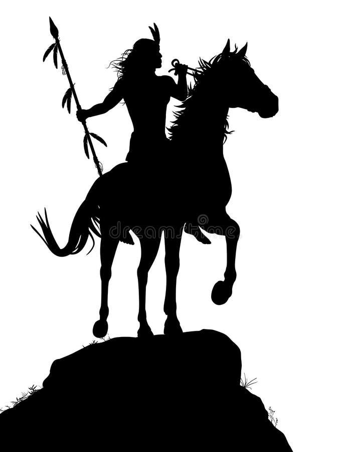Horseback Indian stock illustration