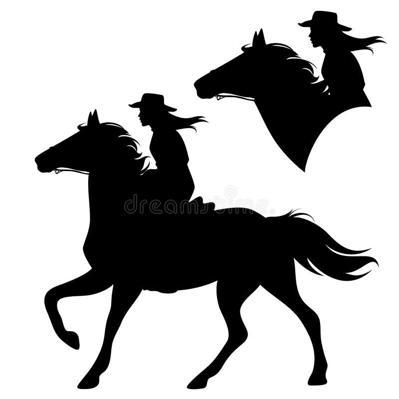 Horseback kowbojska kobieta i działający koński wektor ilustracja wektor