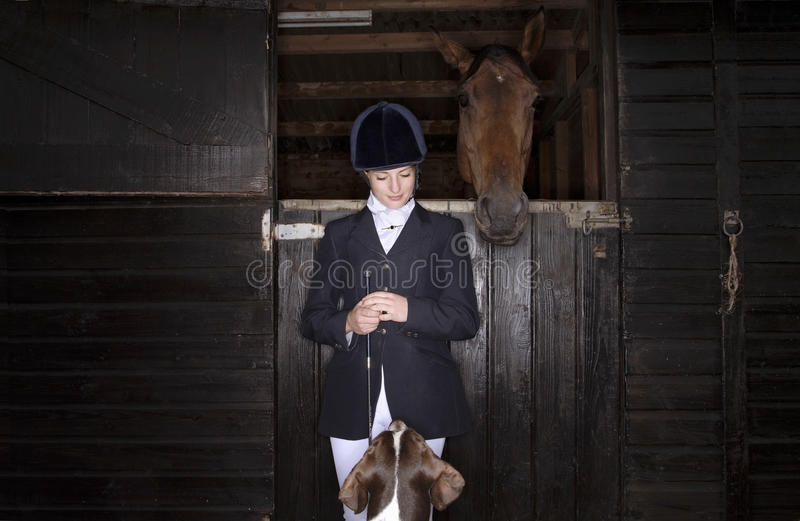 Horseback Rider With Horse And Dog foto de stock royalty free