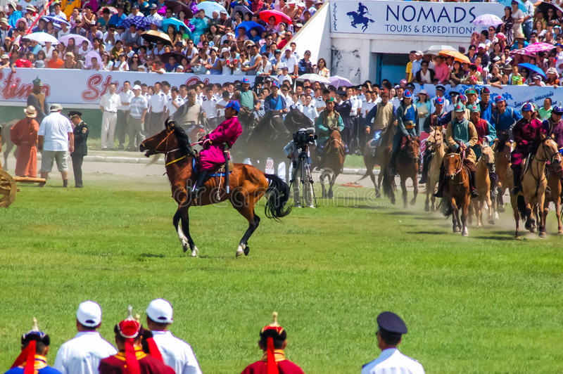 Horseback riders at Nadaam Opening Ceremony stock images