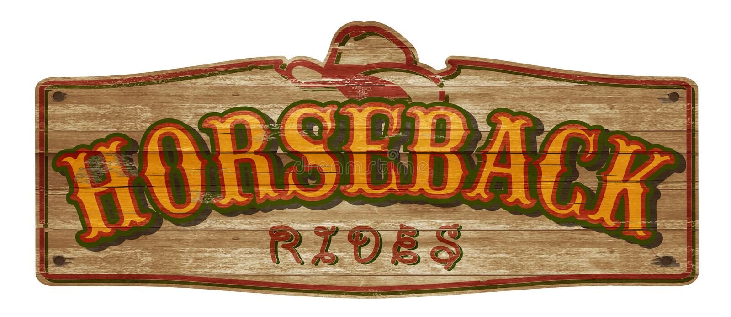 Horseback Rides Old West Sign. Wood wooden cowboy hat rustic vintage weathered horses royalty free stock image