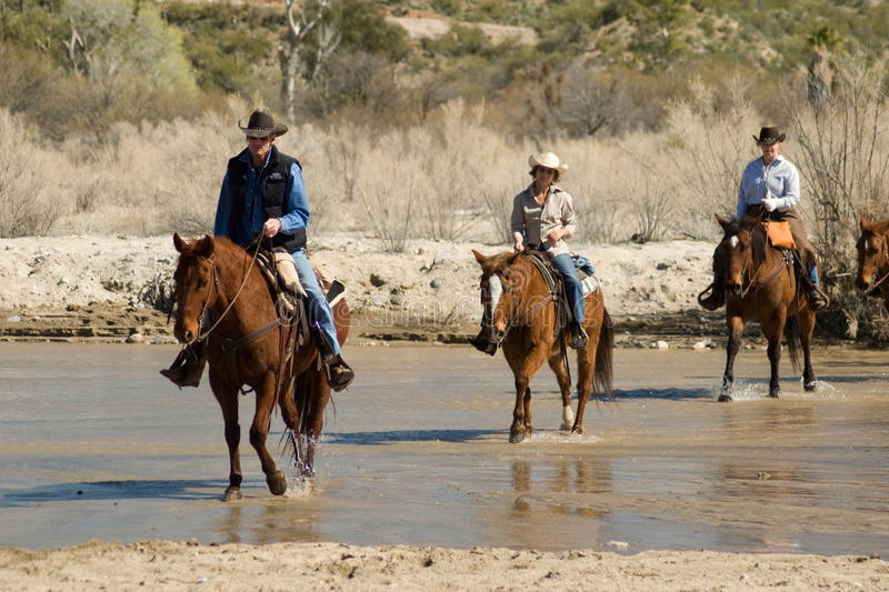 Horseback Riding in the Desert. Vacationers from a dude guest ranch go for a horseback ride in the Arizona desert stock image