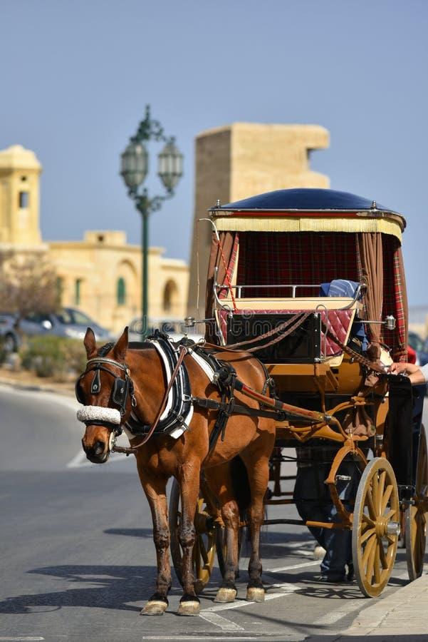 Horsedrawn Warenkorb in Valletta Malta lizenzfreies stockfoto