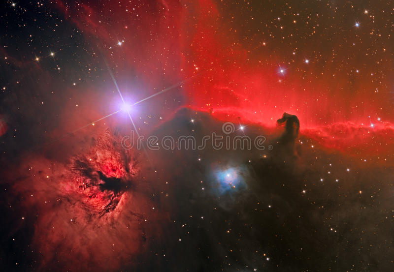 HorseHead and Flame Nebula royalty free stock images