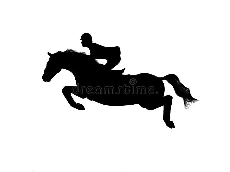 horsejumping的剪影向量 库存照片