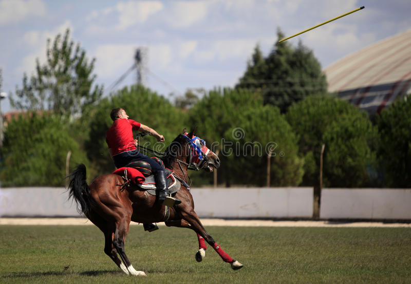 Horseman competition with javelin stock image