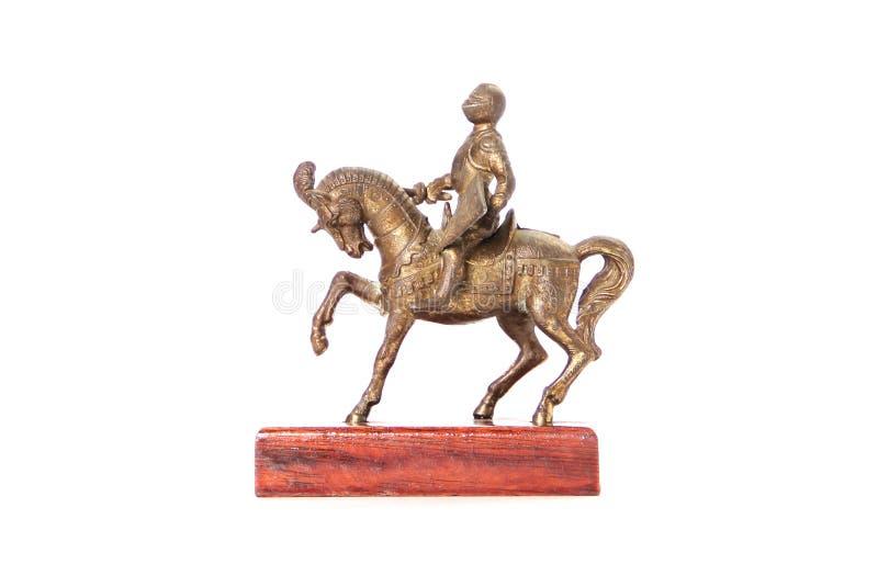 Horseman figurine. On white background stock photos