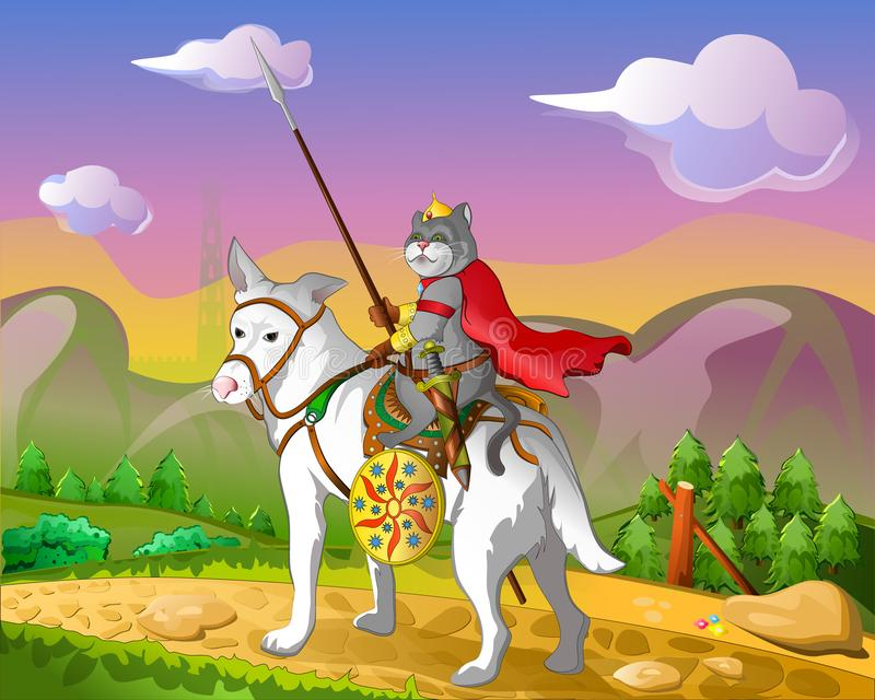 A horseman with a spear. vector illustration