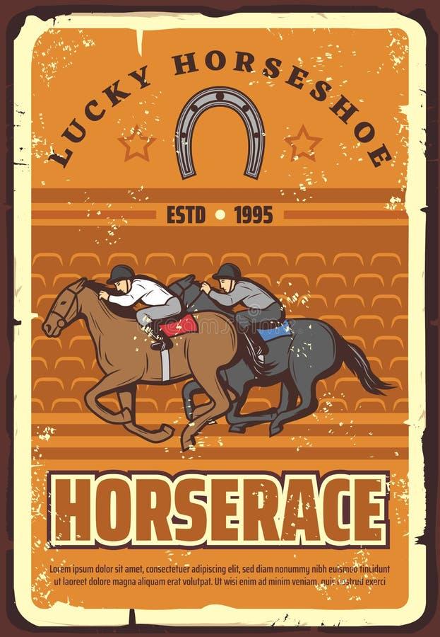 Horserace et sport équestre, rétro vecteur illustration de vecteur