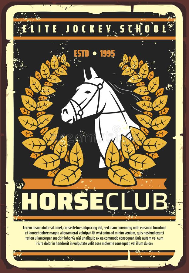 Horserace tłuc konia, dżokeja szkolny retro plakat royalty ilustracja