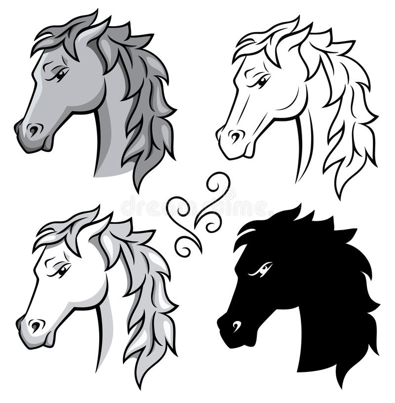 Download Horses. stock vector. Image of paint, foal, head, hair - 25450942