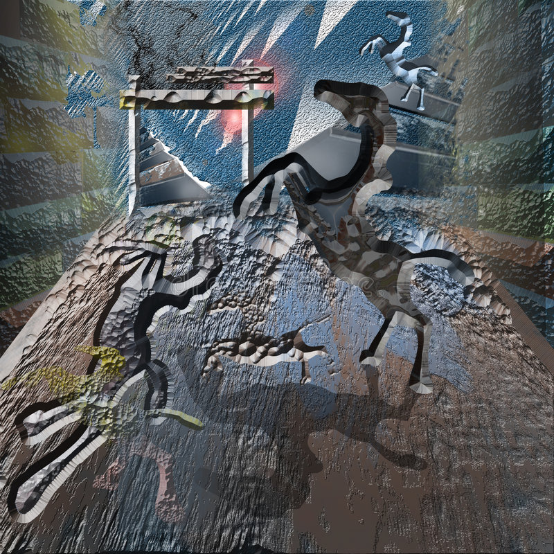 Horses in the cave stock image