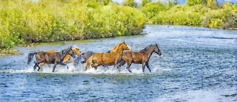 Horses cross, rivier, fotokunst stock afbeelding