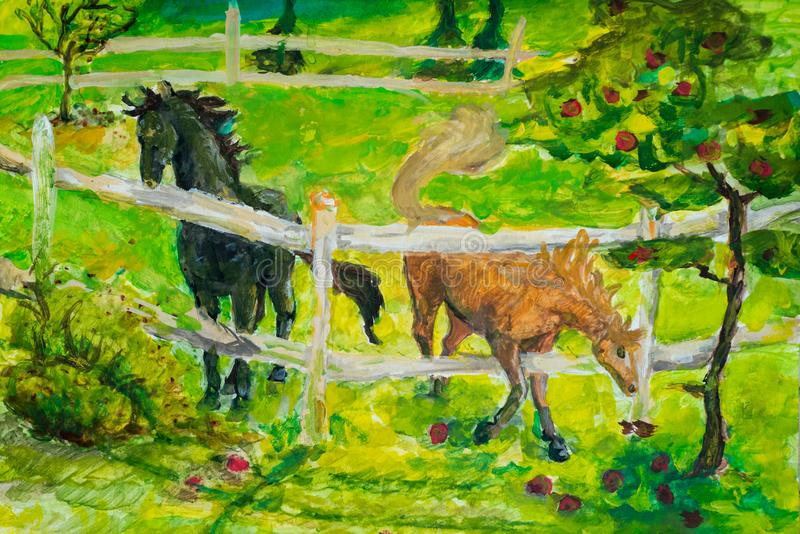 Horses grazing in sunset field, Horse in summerlandscape in field. Art painting. The photo is painted in the drawing. Style. Drawing paints a horse on canvas royalty free stock photo