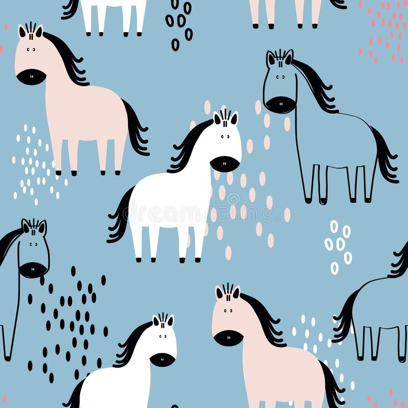 Colorful seamless pattern with happy horses. Decorative cute background with animals stock illustration