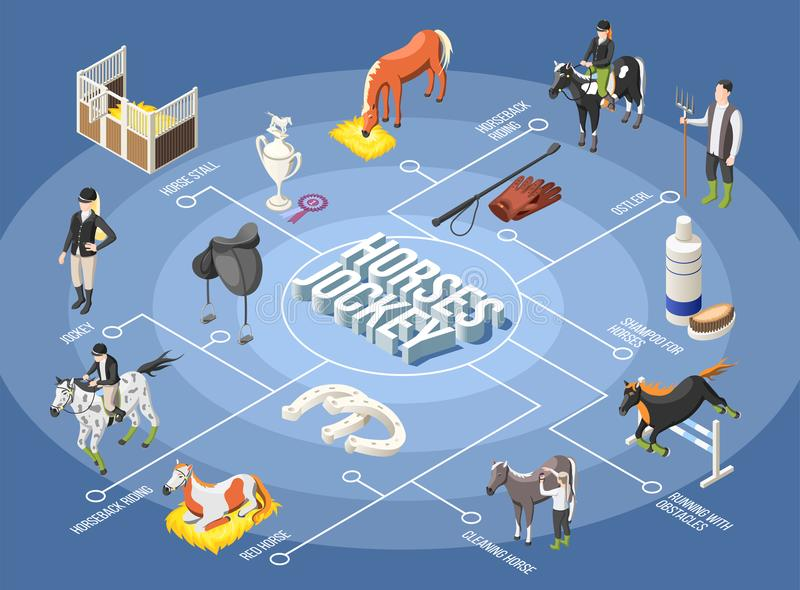 Horses And Jockey Isometric Flowchart. Horses and jockey 3d flowchart with ostler horse stall horseback riding running with obstacles isometric elements vector royalty free illustration