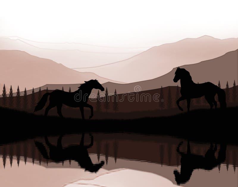 Horses landscape moment stock photo