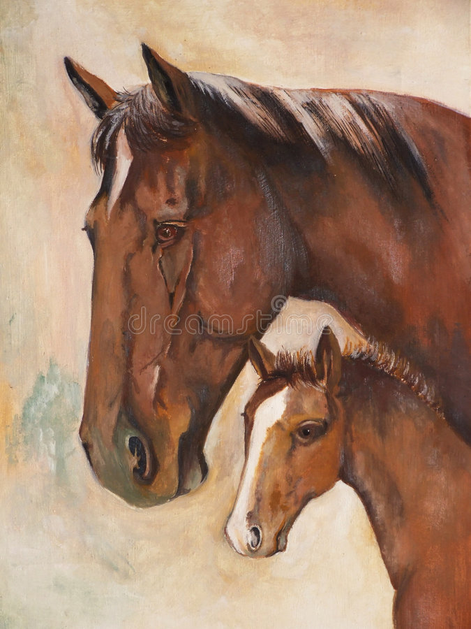 Horses, oil paint stock photography