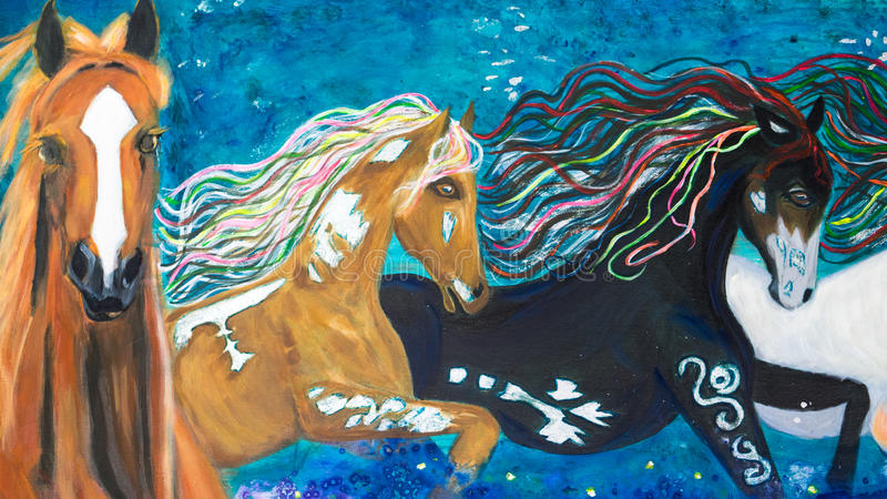 Horses oil painting. An original oil painting of the 3 horses on blue background. This painting was done by Felicity Thompson, a local artist in Australia royalty free illustration