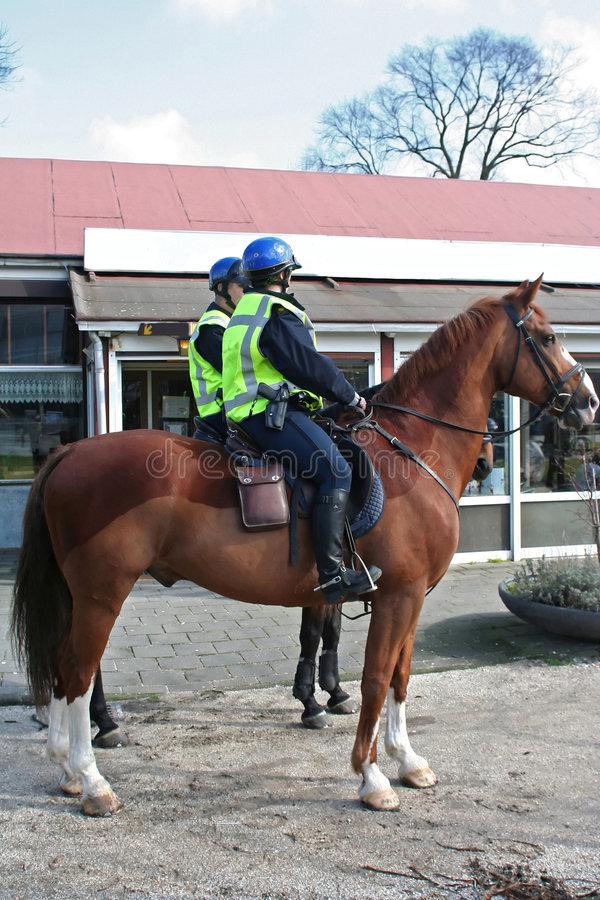 Horses Police In City Royalty Free Stock Photography