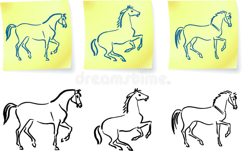 Horses on post it notes