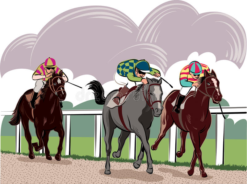 Horses and riders. During a race vector illustration