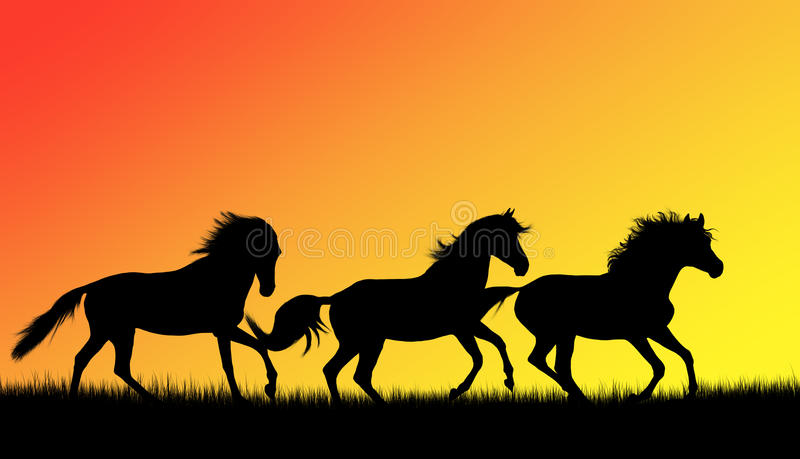 Download Horses silhouettes stock illustration. Image of gallop - 22957568