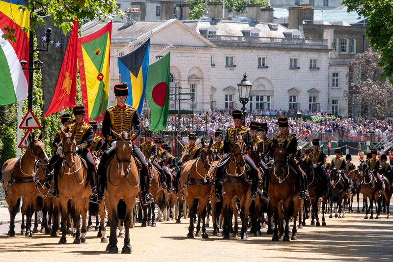 Horses taking part in the Trooping the Colour military parade at Horse Guards, Westminster, London UK. Cavalry horses taking part in the Trooping the Colour stock images