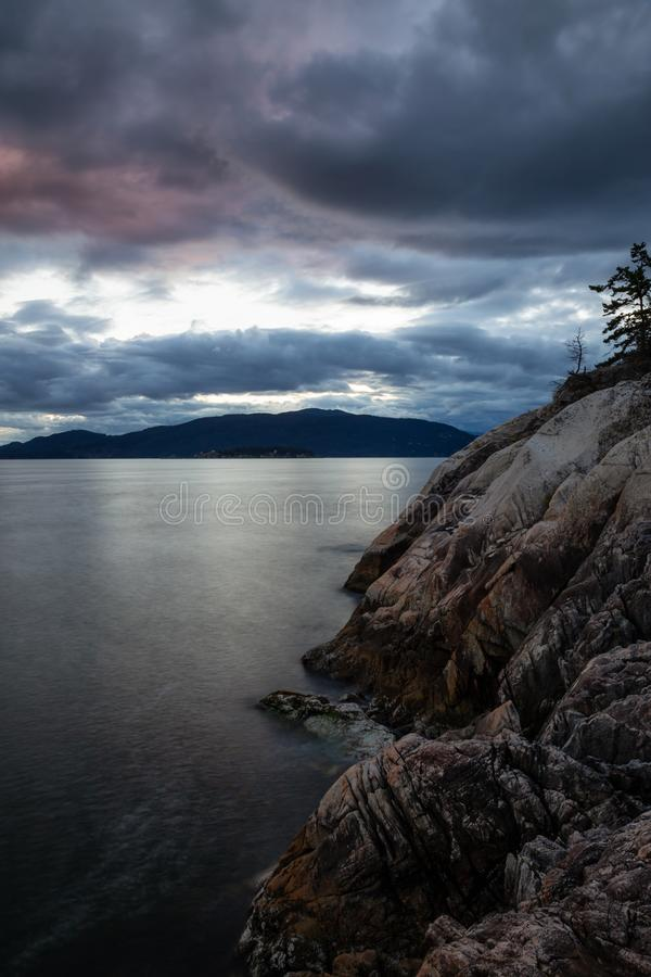 Horseshoe Bay in West Vancouver during cloudy sunset stock images