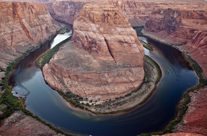 Horseshoe Bend on the Colorado River. Horseshoe Bend, an entrenched meander on the Colorado River near Page Arizona royalty free stock photo